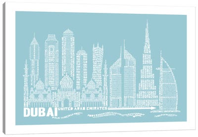 Dubai, Aqua Canvas Art Print