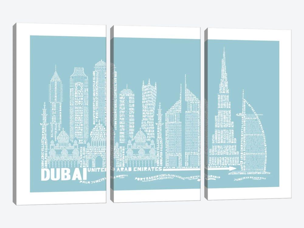 Dubai, Aqua by Citography 3-piece Canvas Artwork