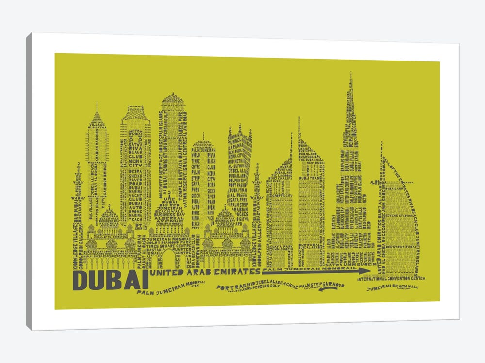 Dubai, Lime by Citography 1-piece Art Print