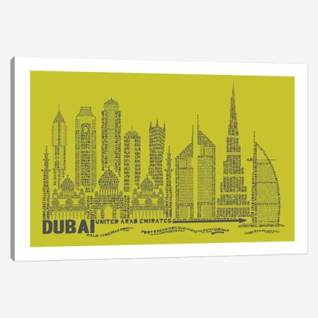 Dubai, Lime Canvas Print #AAA24} by Citography Canvas Wall Art