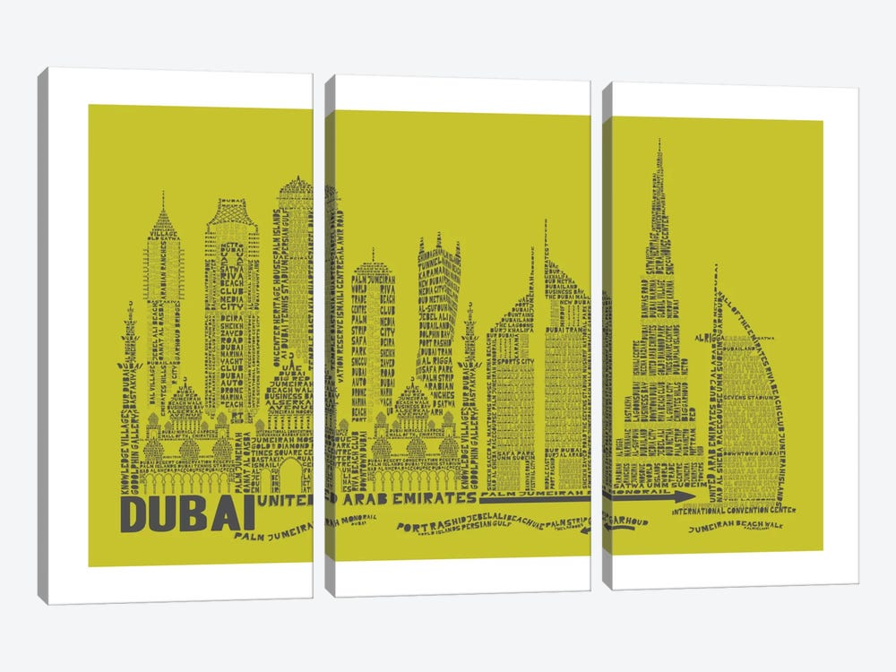 Dubai, Lime by Citography 3-piece Canvas Print