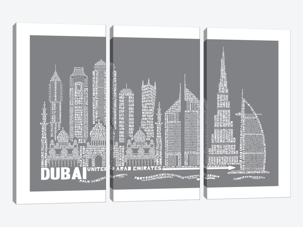 Dubai, Slate by Citography 3-piece Canvas Artwork