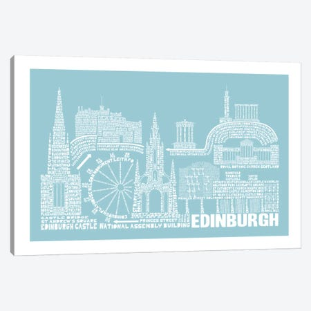 Edinburgh, Aqua Canvas Print #AAA26} by Citography Canvas Wall Art