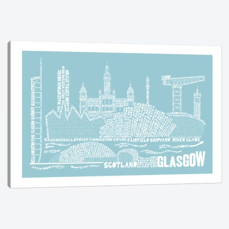 Glasgow, Aqua Canvas Print #AAA27} by Citography Canvas Artwork