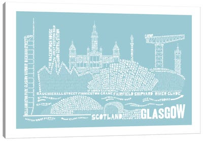 Glasgow, Aqua Canvas Art Print
