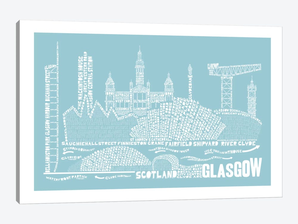 Glasgow, Aqua by Citography 1-piece Canvas Wall Art