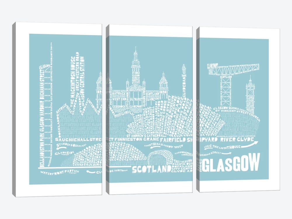 Glasgow, Aqua by Citography 3-piece Canvas Wall Art