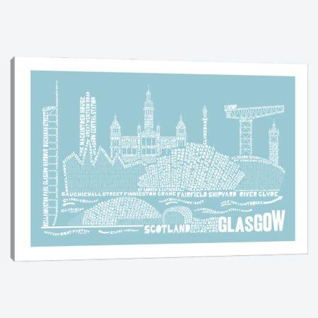 Glasgow, Aqua Canvas Print #AAA27} by Citography Canvas Artwork