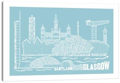 Glasgow, Aqua Canvas Art Print