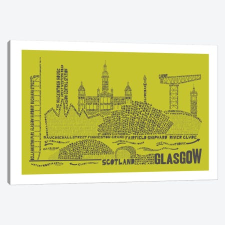 Glasgow, Lime & Gray Canvas Print #AAA28} by Citography Art Print