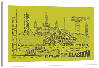 Glasgow, Lime & Gray Canvas Art Print