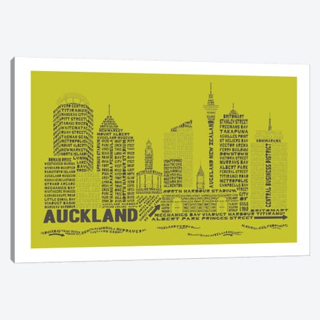 Auckland, Lime & Charcoal Canvas Print #AAA2} by Citography Canvas Art