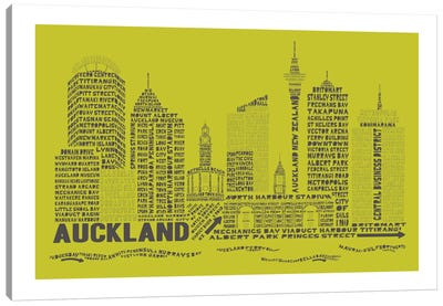Auckland, Lime & Charcoal Canvas Art Print