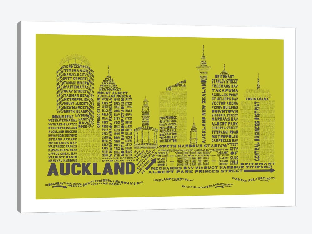 Auckland, Lime & Charcoal by Citography 1-piece Canvas Art Print