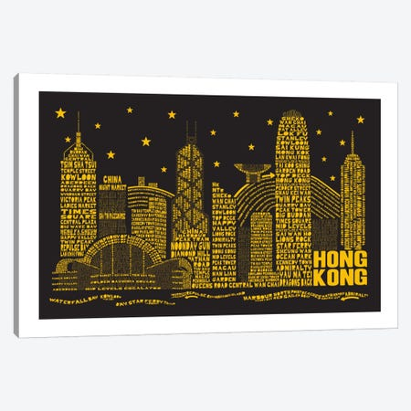 Hong Kong By Night Canvas Print #AAA30} by Citography Canvas Wall Art