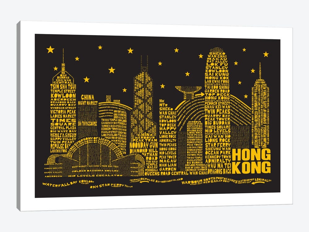 Hong Kong By Night 1-piece Canvas Art