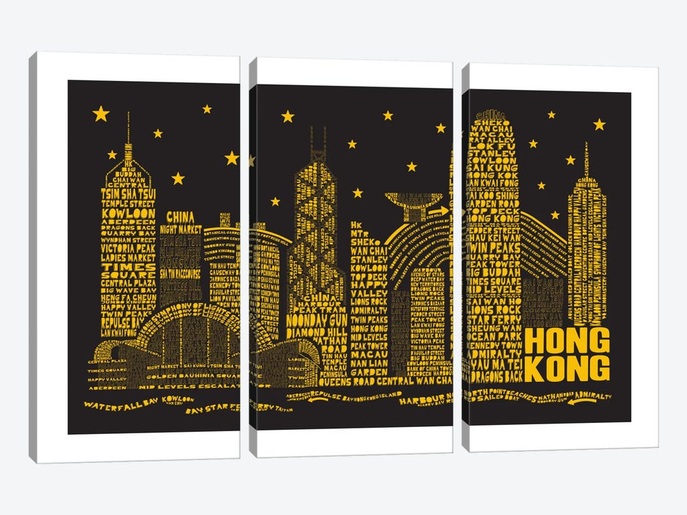 Hong Kong By Night 3-piece Canvas Art