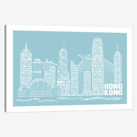Hong Kong, Aqua Canvas Print #AAA31} by Citography Canvas Art