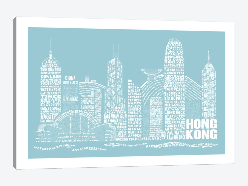 Hong Kong, Aqua by Citography 1-piece Art Print
