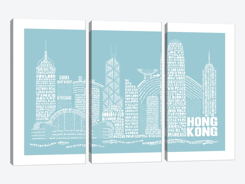 Hong Kong, Aqua by Citography 3-piece Canvas Print