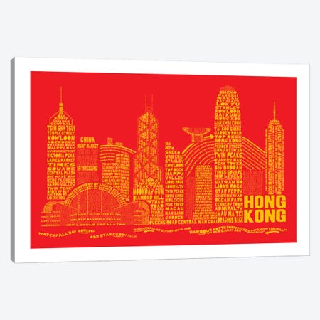 Hong Kong, Red & Gold Canvas Print #AAA32} by Citography Canvas Art