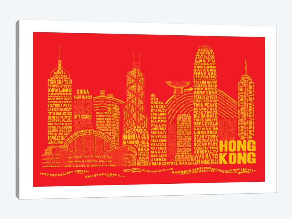 Hong Kong, Red & Gold by Citography 1-piece Canvas Art