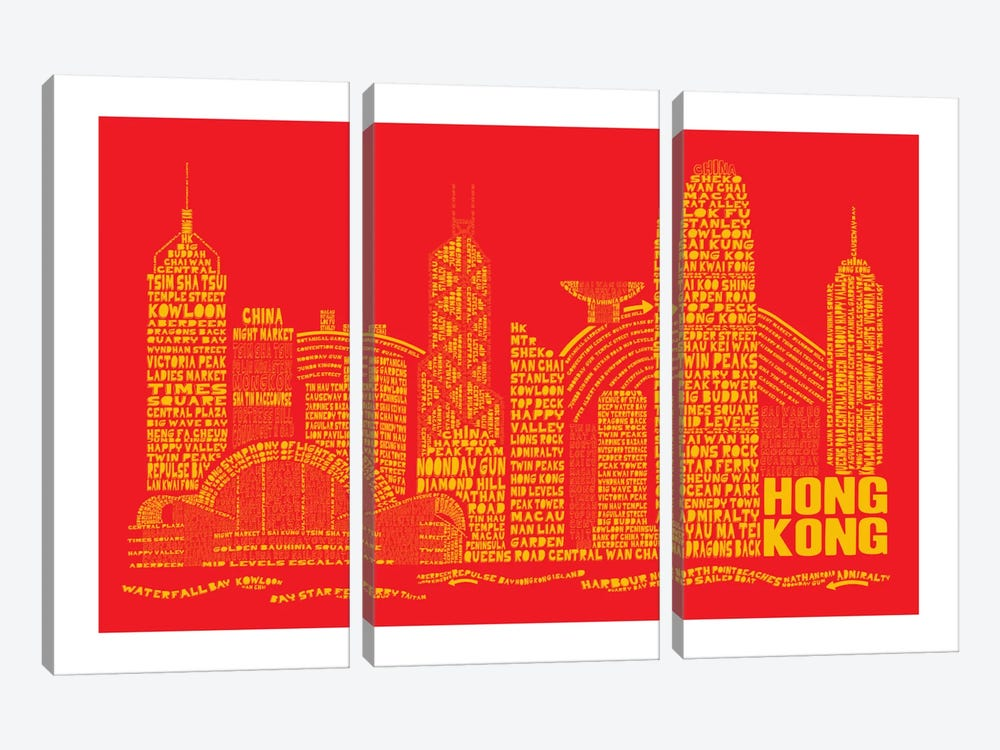 Hong Kong, Red & Gold by Citography 3-piece Canvas Wall Art