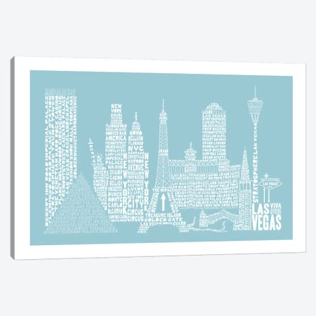 Las Vegas, Aqua Canvas Print #AAA34} by Citography Art Print