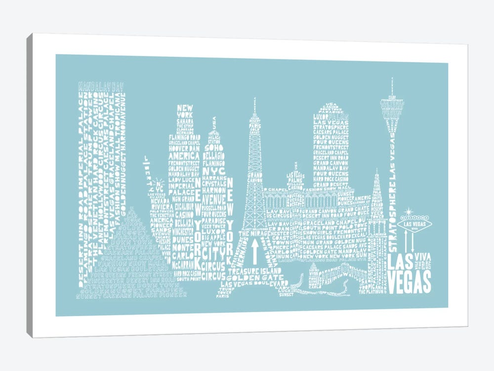 Las Vegas, Aqua by Citography 1-piece Canvas Art