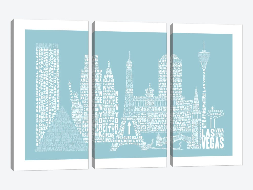 Las Vegas, Aqua by Citography 3-piece Canvas Artwork