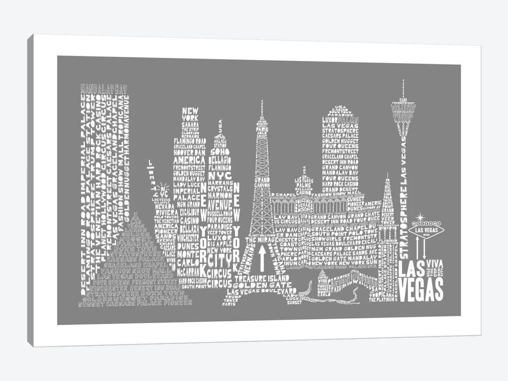 Las Vegas, Gray by Citography 1-piece Art Print