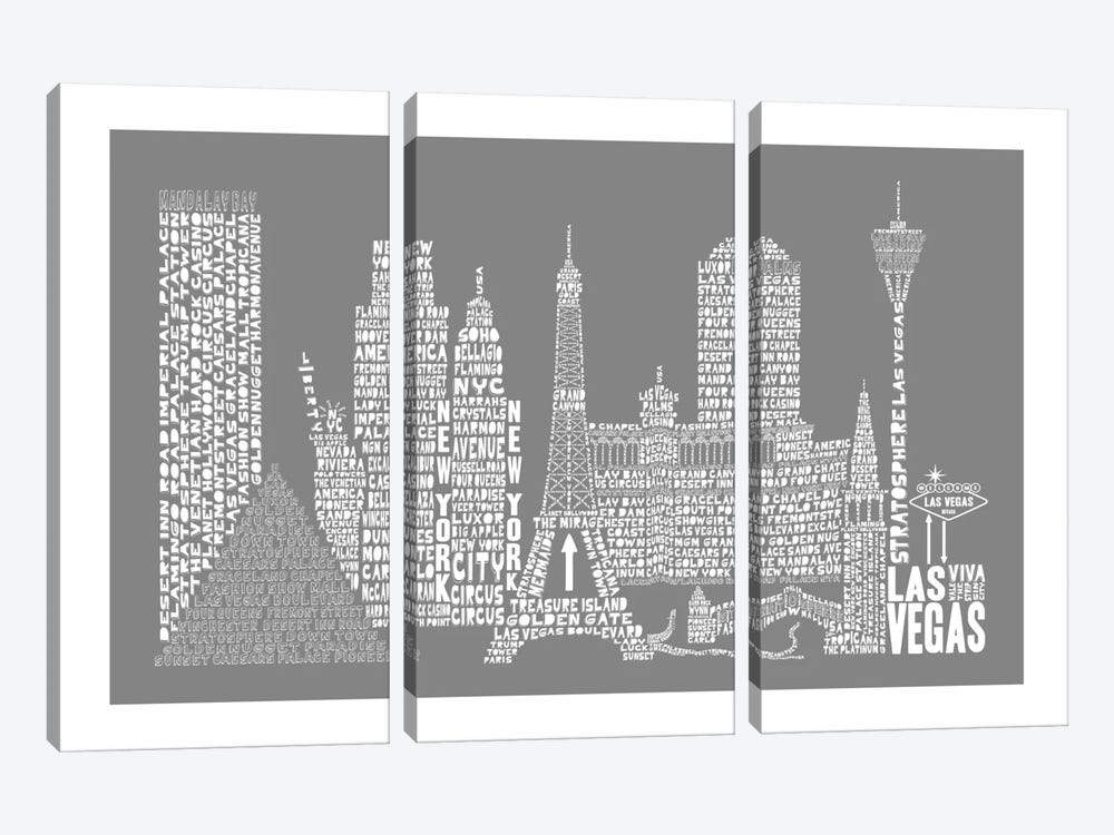 Las Vegas, Gray by Citography 3-piece Canvas Art Print
