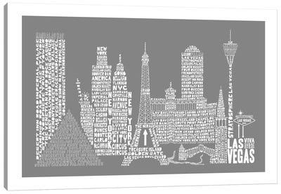 Las Vegas, Gray Canvas Art Print