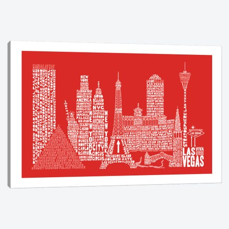 Las Vegas, Red Canvas Print #AAA36} by Citography Canvas Art Print