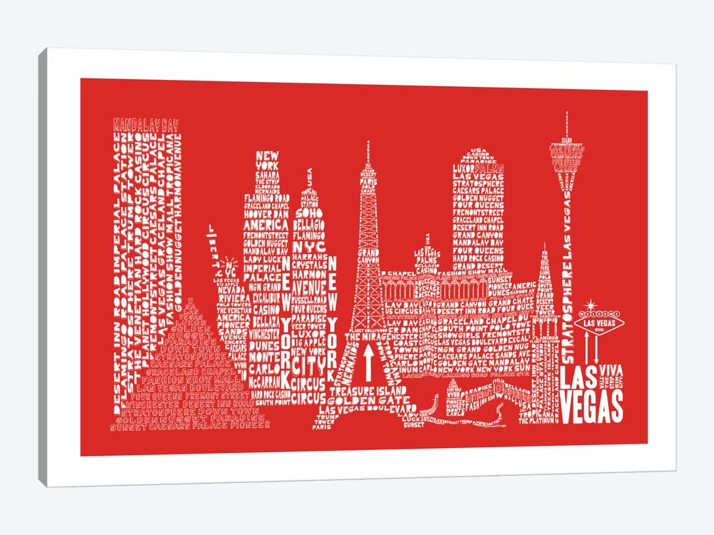 Las Vegas, Red by Citography 1-piece Canvas Wall Art