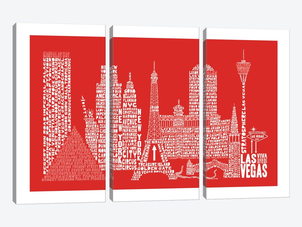Las Vegas, Red by Citography 3-piece Canvas Art