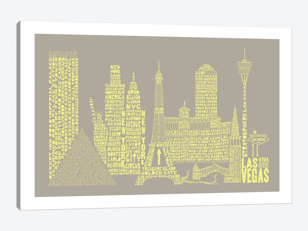 Las Vegas, Stone & Faded Neon by Citography 1-piece Canvas Print