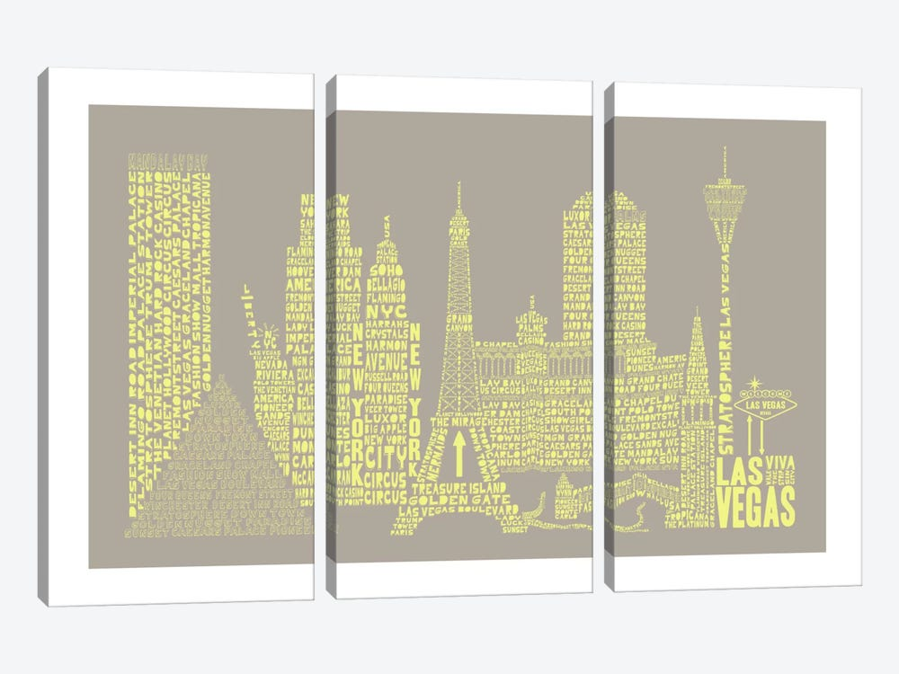 Las Vegas, Stone & Faded Neon by Citography 3-piece Canvas Art Print