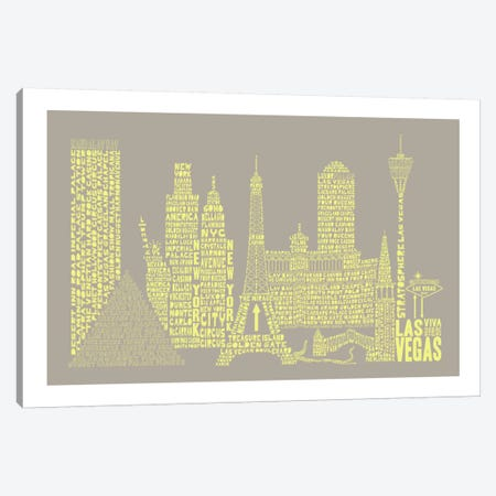 Las Vegas, Stone & Faded Neon Canvas Print #AAA37} by Citography Canvas Art Print