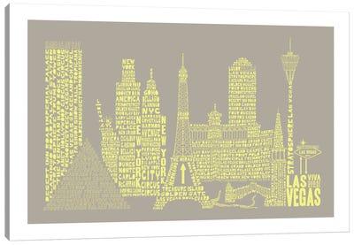 Las Vegas, Stone & Faded Neon Canvas Art Print