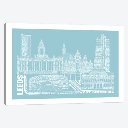 Leeds, Aqua Canvas Print #AAA38} by Citography Canvas Artwork
