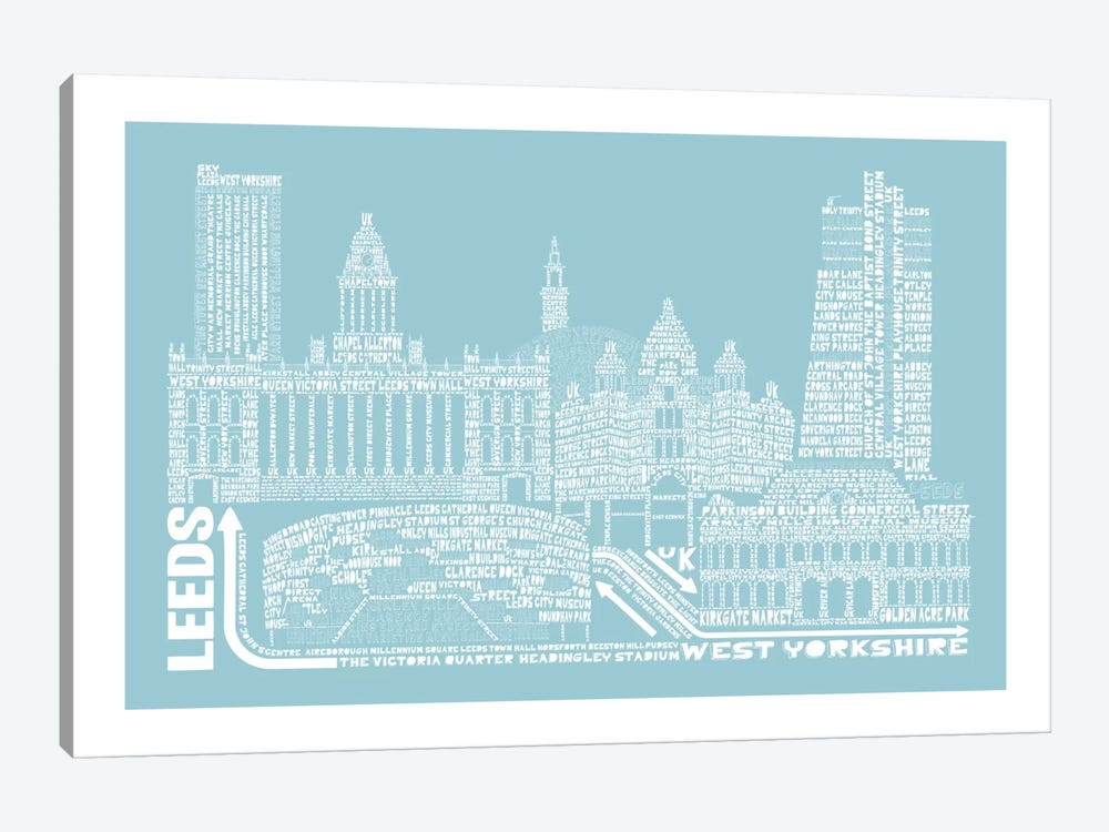 Leeds, Aqua by Citography 1-piece Canvas Art