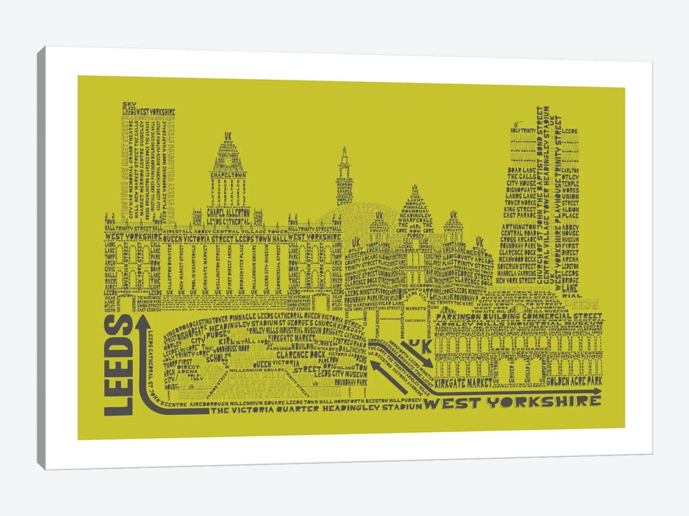 Leeds, Lime & Gray by Citography 1-piece Canvas Art Print