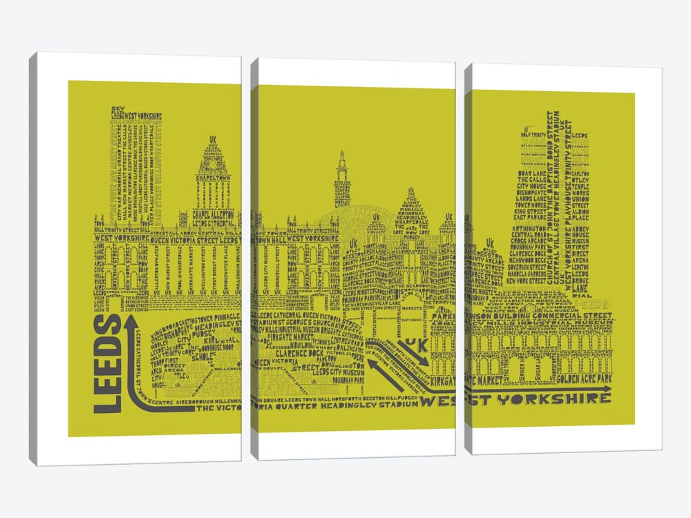 Leeds, Lime & Gray by Citography 3-piece Canvas Art Print