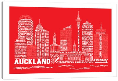 Auckland, Red Canvas Art Print