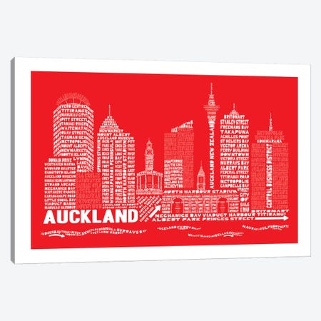 Auckland, Red Canvas Print #AAA3} by Citography Canvas Artwork