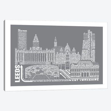 Leeds, Slate Canvas Print #AAA40} by Citography Canvas Print