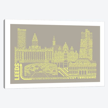 Leeds, Stone & Faded Neon Canvas Print #AAA41} by Citography Canvas Art Print