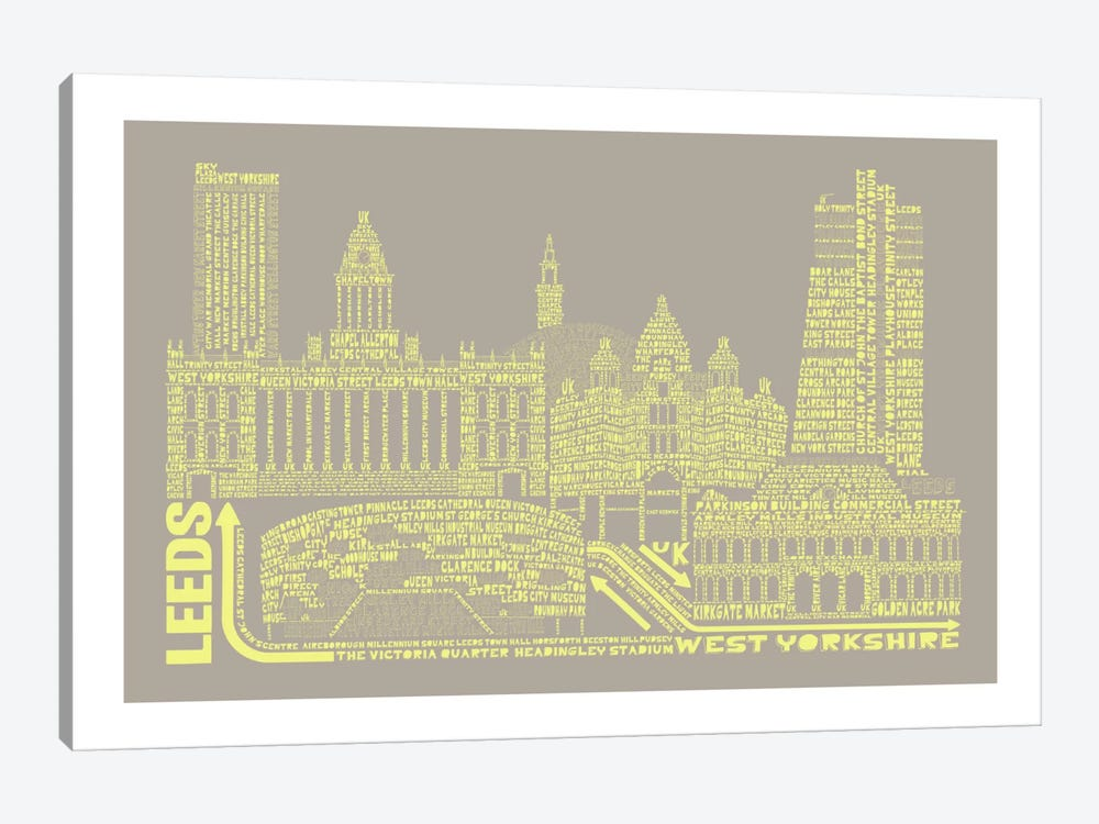 Leeds, Stone & Faded Neon by Citography 1-piece Canvas Art
