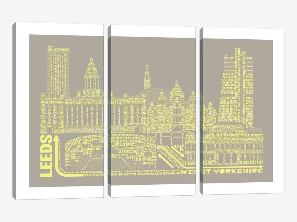 Leeds, Stone & Faded Neon by Citography 3-piece Canvas Artwork